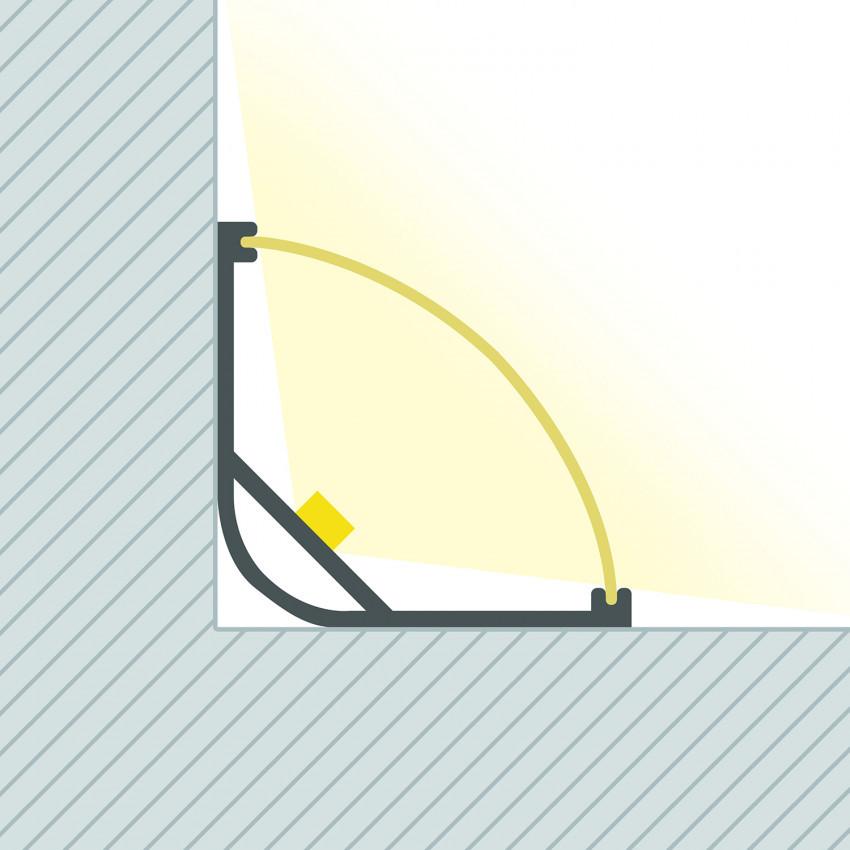 Perfil de alumínio com tampa Continua de Esquina para fitas de LED Até 20 mm