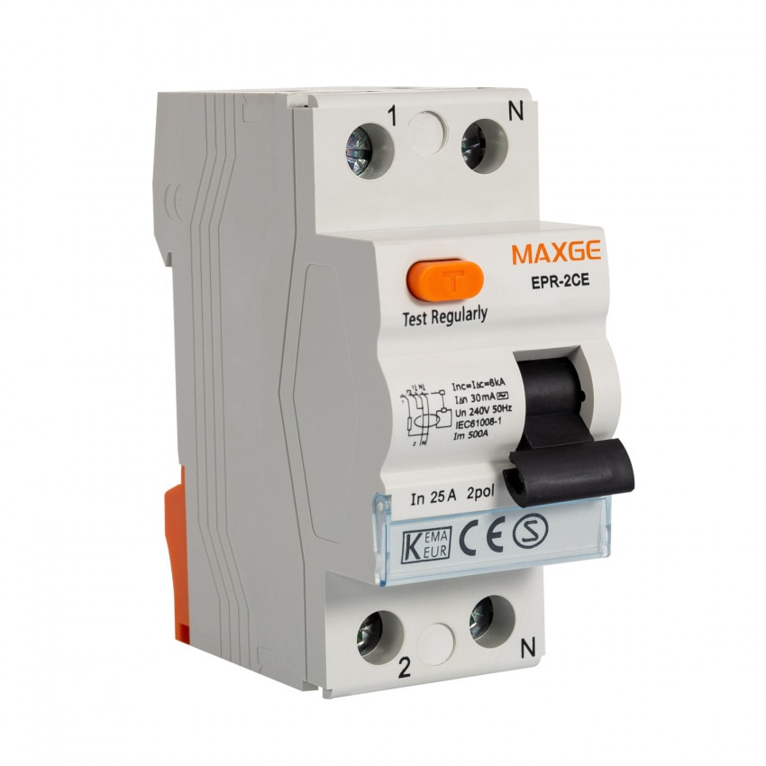 Interruptor Diferencial Residencial MAXGE 1P+N-30mA-Clase AC-6kA