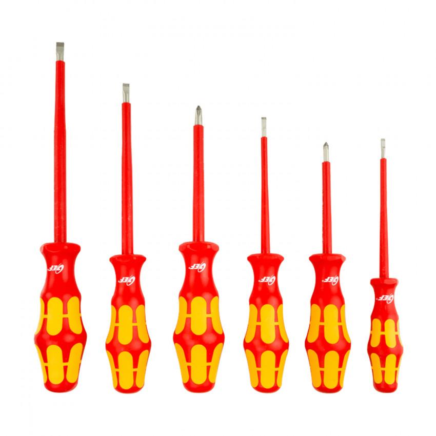Conjunto de 6 Destornilladores Aislados Planos/Philips VDE 1000V GEF K01S