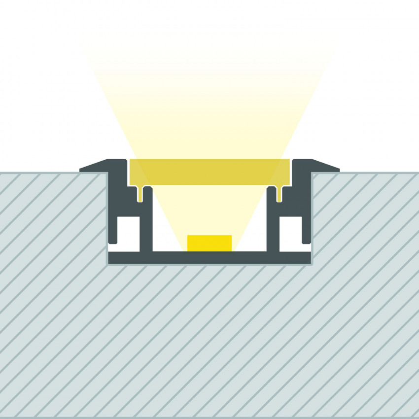 Perfil de Aluminio Pisable para Suelo 1m para Tiras LED hasta 12 mm