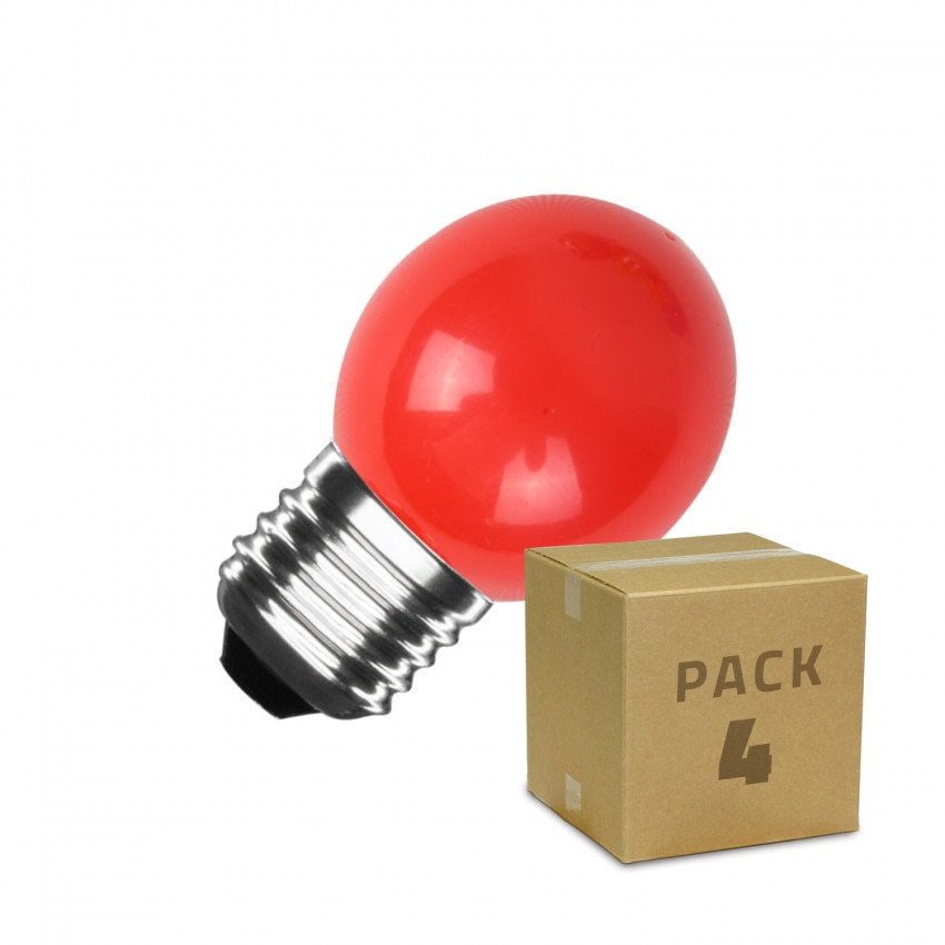 Pack de 4 Bombillas LED E27 G45 3W Rojas