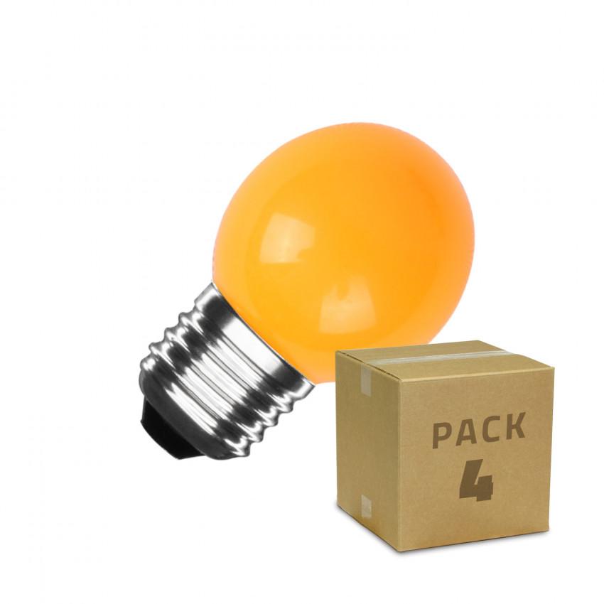 Pack de 4 Bombillas LED E27 G45 3W Naranja
