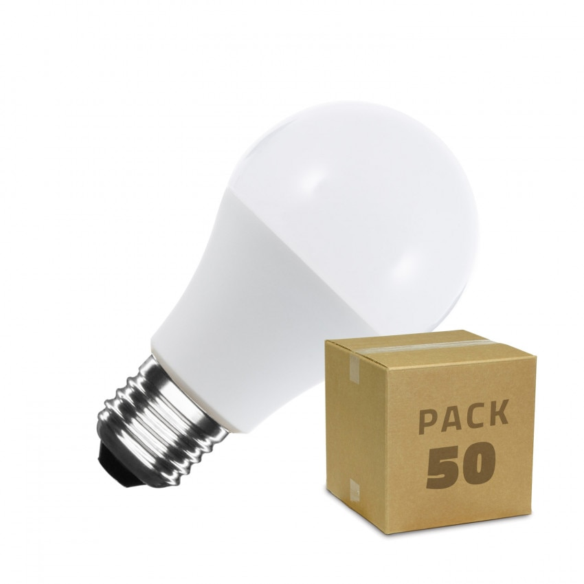 Caixa de 50 Lâmpadas LED E27 A60 10W Branco Frio