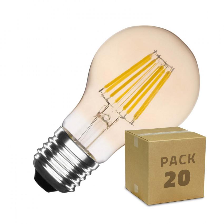 Caixa de 20 Lâmpadas LED E27  Regulável de Filamento Gold Classic A60 6W Branco Quente