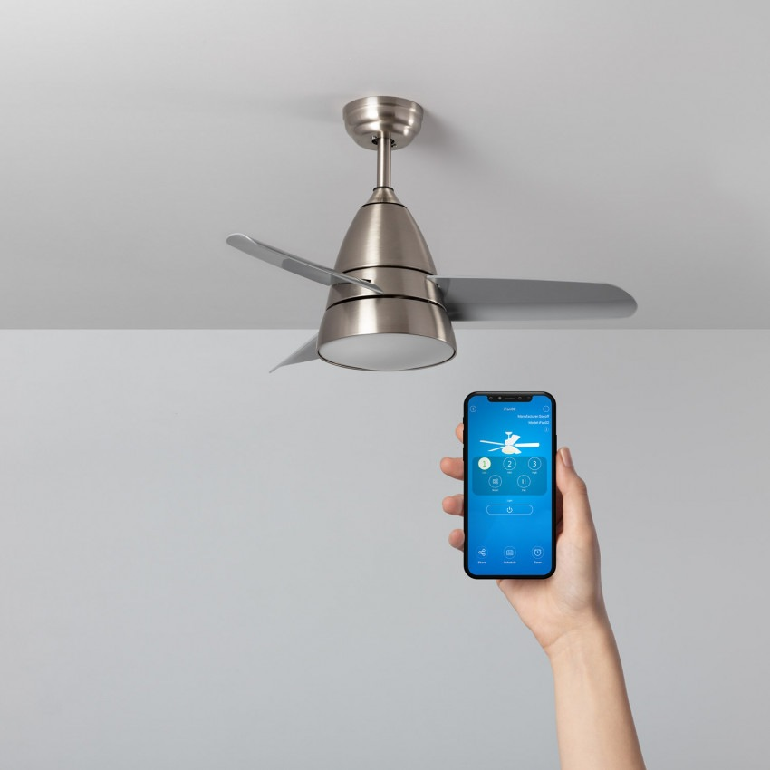 Ventilador de Techo LED Smart WiFi Industrial CCT Seleccionable Plata