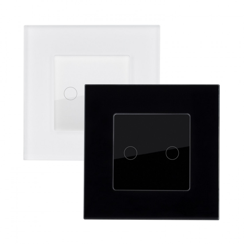 Interruptor Táctil Duplo com Moldura de Vidro Modern