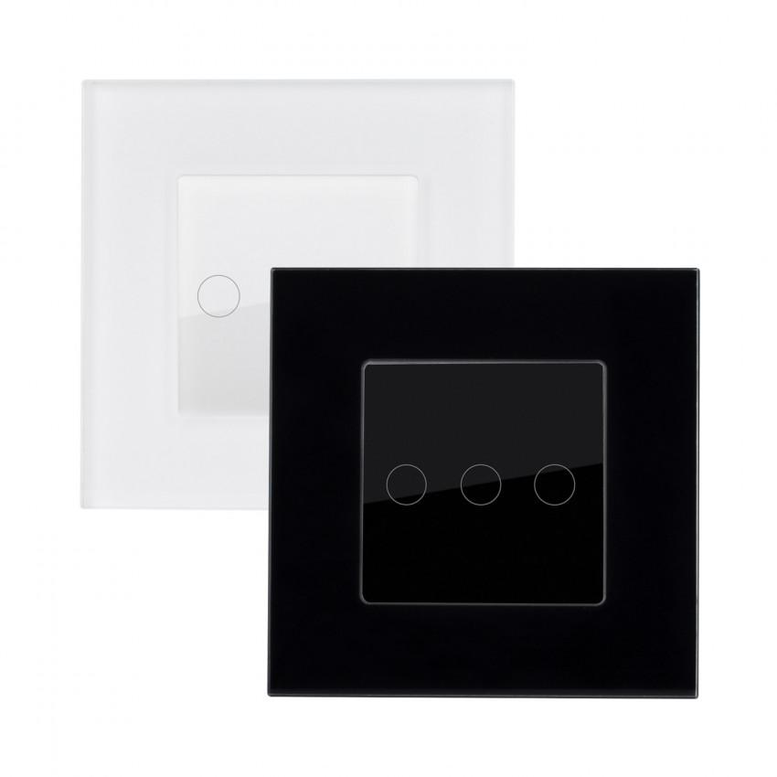 Interruptor Táctil Triple Conmutado con Marco Cristal Modern