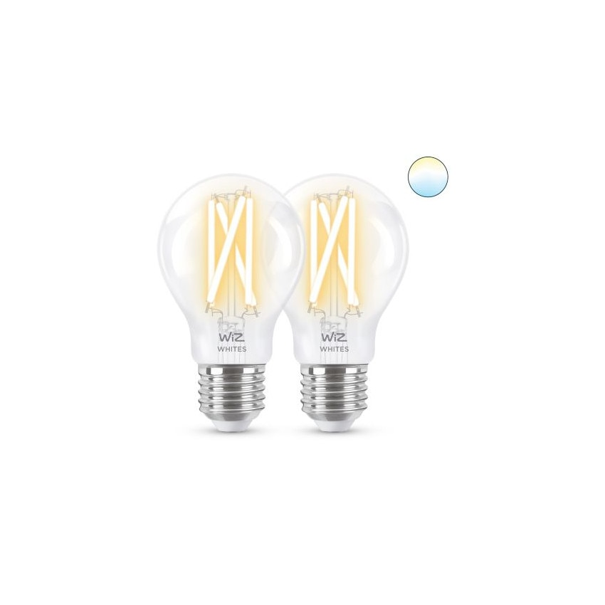 Pack 2 Bombillas LED Smart WiFi E27 A60 CCT Regulable WIZ Filamento 6.7W