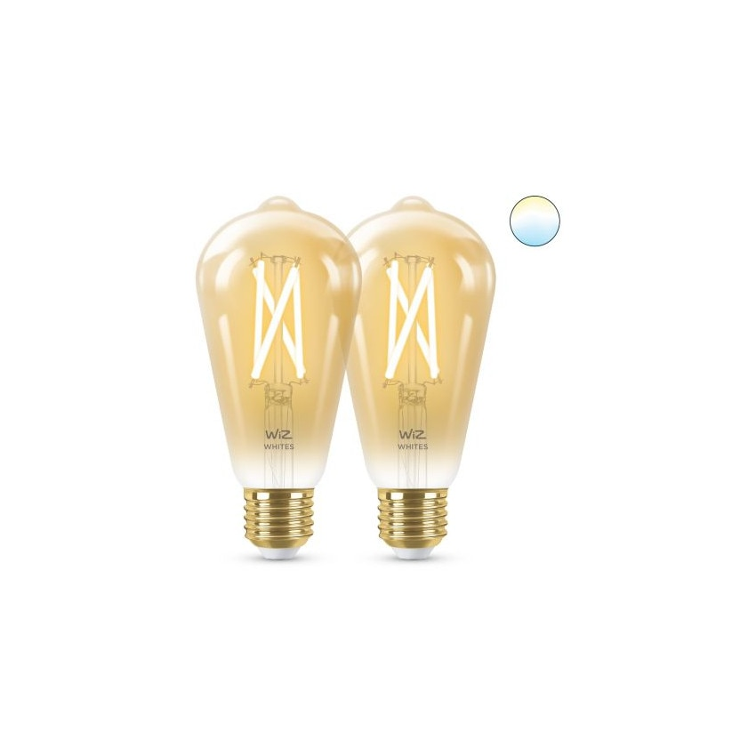 Pack 2 Bombillas LED Smart WiFi E27 ST64 CCT Regulable WIZ Filamento Vintage 6.7W