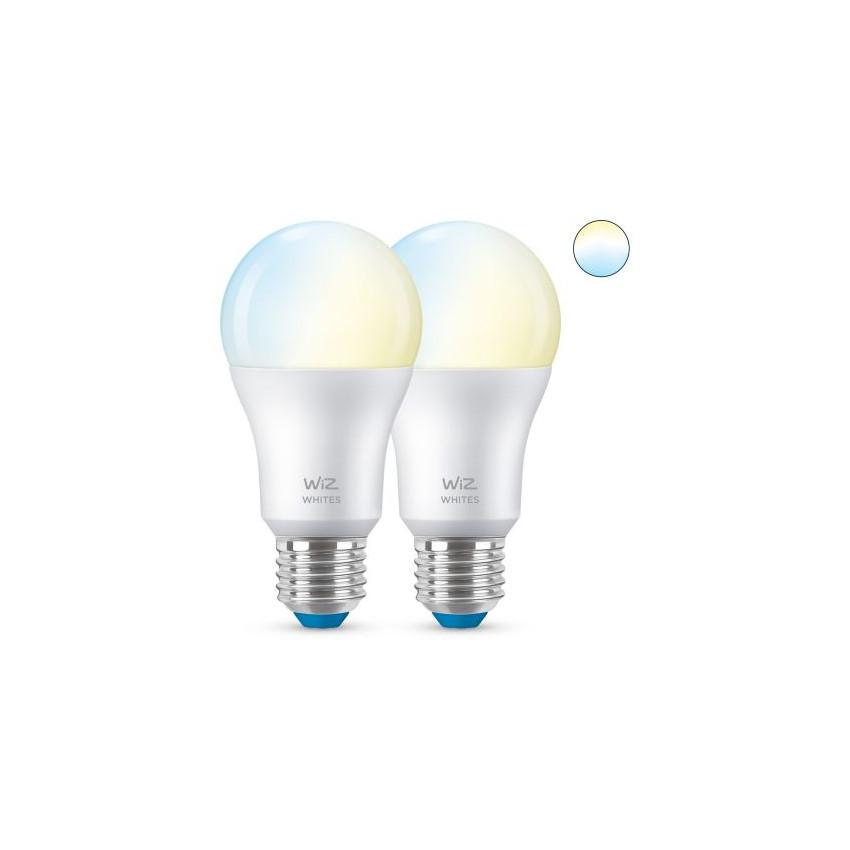 Pack 2 Bombillas LED Smart WiFi + Bluetooth E27 A60 CCT Regulable WIZ 8W