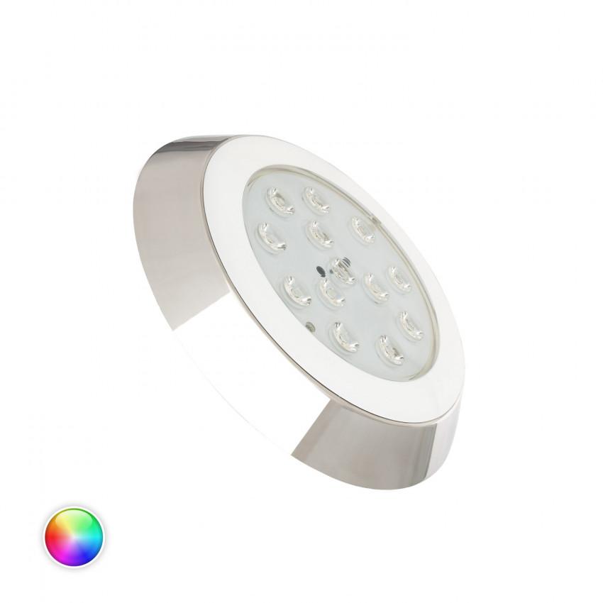 Foco Piscina LED RGBW Superficie 12V DC Aço Inoxidável 12W IP68
