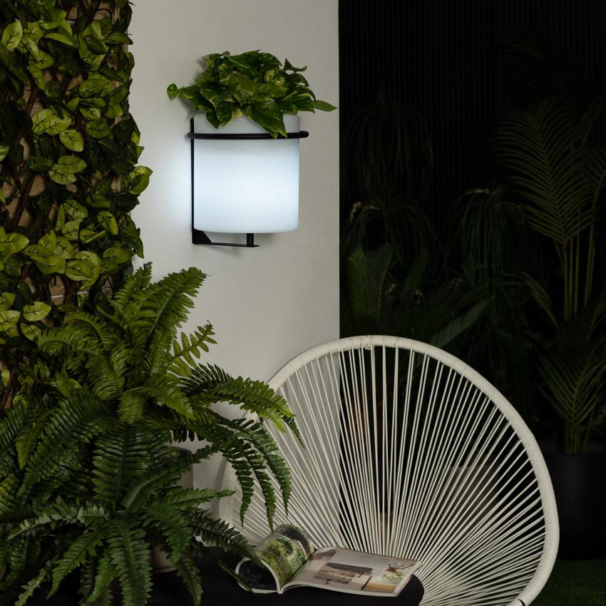 Vaso LED RGBW de Parede 22cm Recarregável IP65