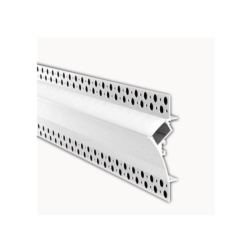 Perfil de Aluminio Empotrado para Escayola / Pladur con Tapa Continua para Tira LED hasta 20mm