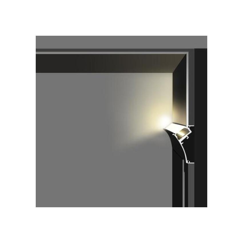Perfil de Aluminio Encastrável para Gesso/Pladur com Tampa Contínua para Fita LED até 20mm