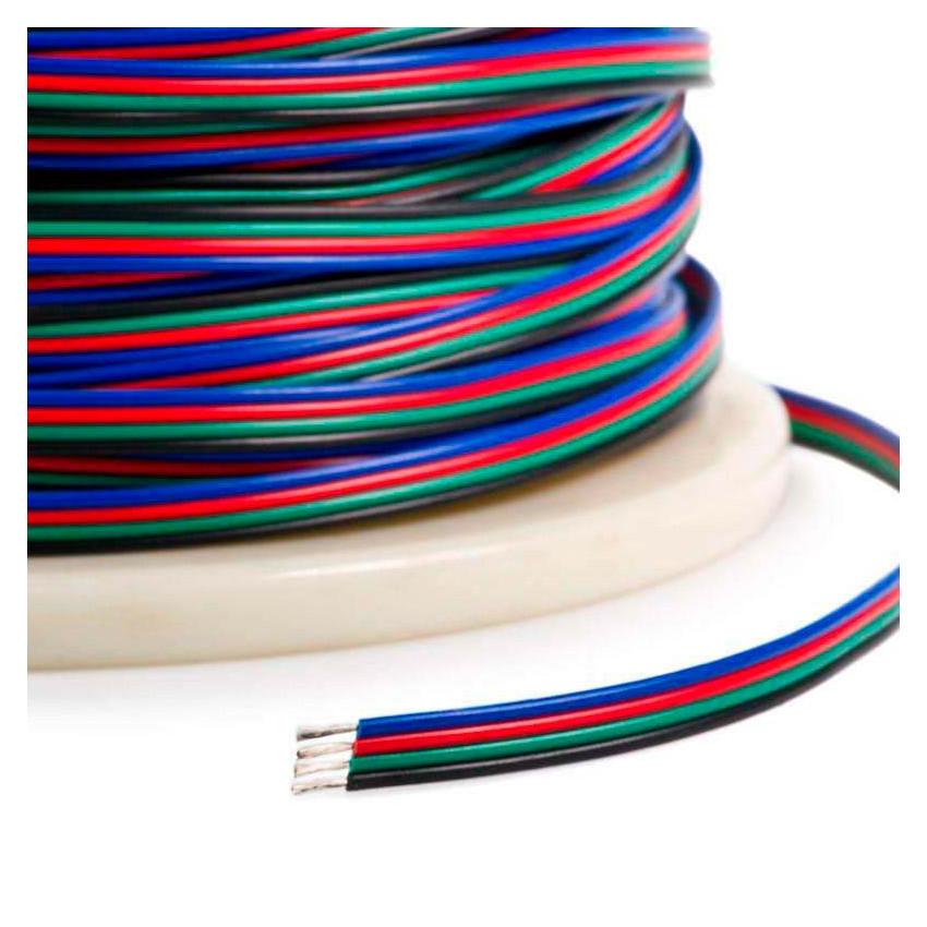 Rollo 100m Cable Eléctrico Plano Manguera 4x0.5mm² para Tiras LED RGB