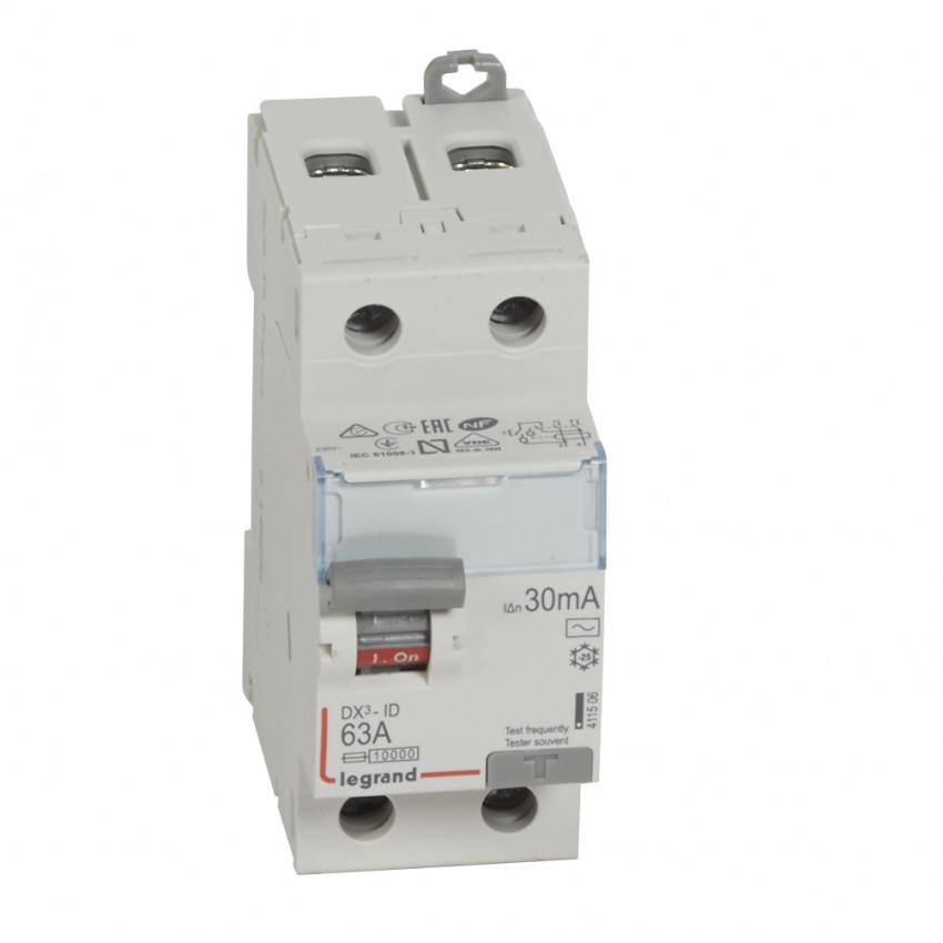Interruptor Diferencial DX3 Terciário 2P 30mA Tipo AC 63 A LEGRAND 411506