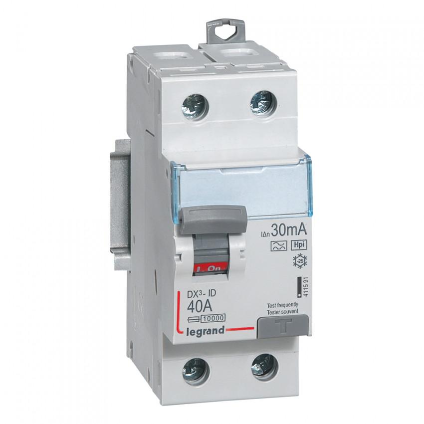 Interruptor Diferencial Superinmunizado DX3 Terciario 2P 30mA Tipo Hpi 40 A LEGRAND 411591