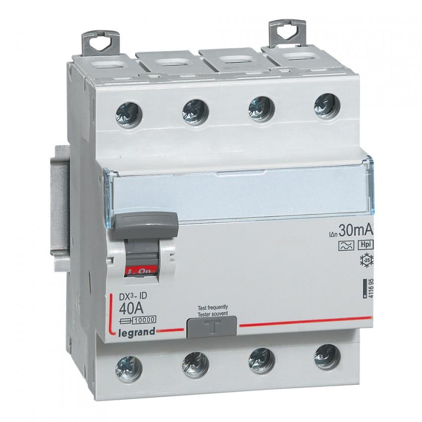 Interruptor Diferencial Superinmunizado DX3 Terciario 4P 30mA Tipo Hpi 40A LEGRAND 411695