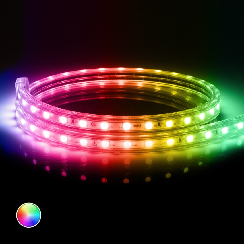 Fita LED RGB Smart Wifi 220V AC 60 LED/m IP65 à Medida Corte cada 100cm