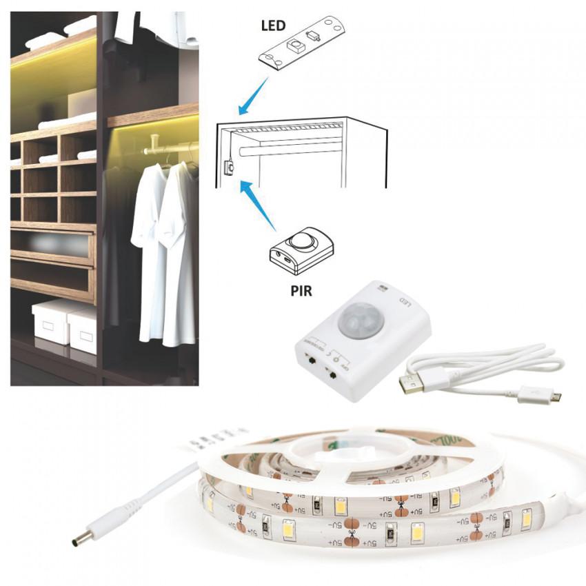 Tira LED con Sensor de Movimiento 30LED/m 1m IP20 Recargable USB