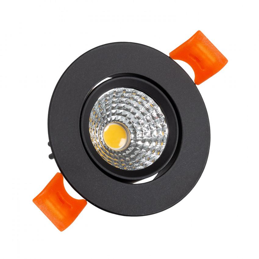 Foco Downlight LED 3W COB Direcionável Circular (UGR19) Preto Corte Ø55 mm CRI92 Expert Color