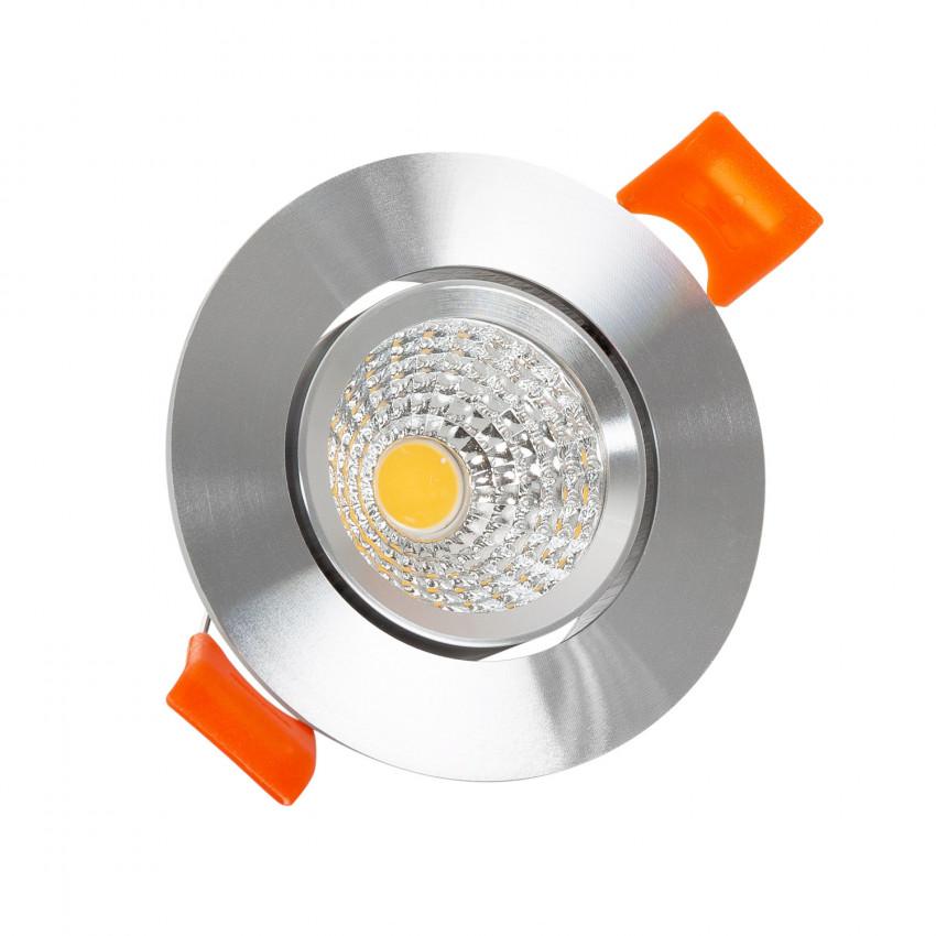 Foco Downlight LED 3W COB Direcionavél Circular Prata Corte  Ø 55 mm CRI92 Expert Color