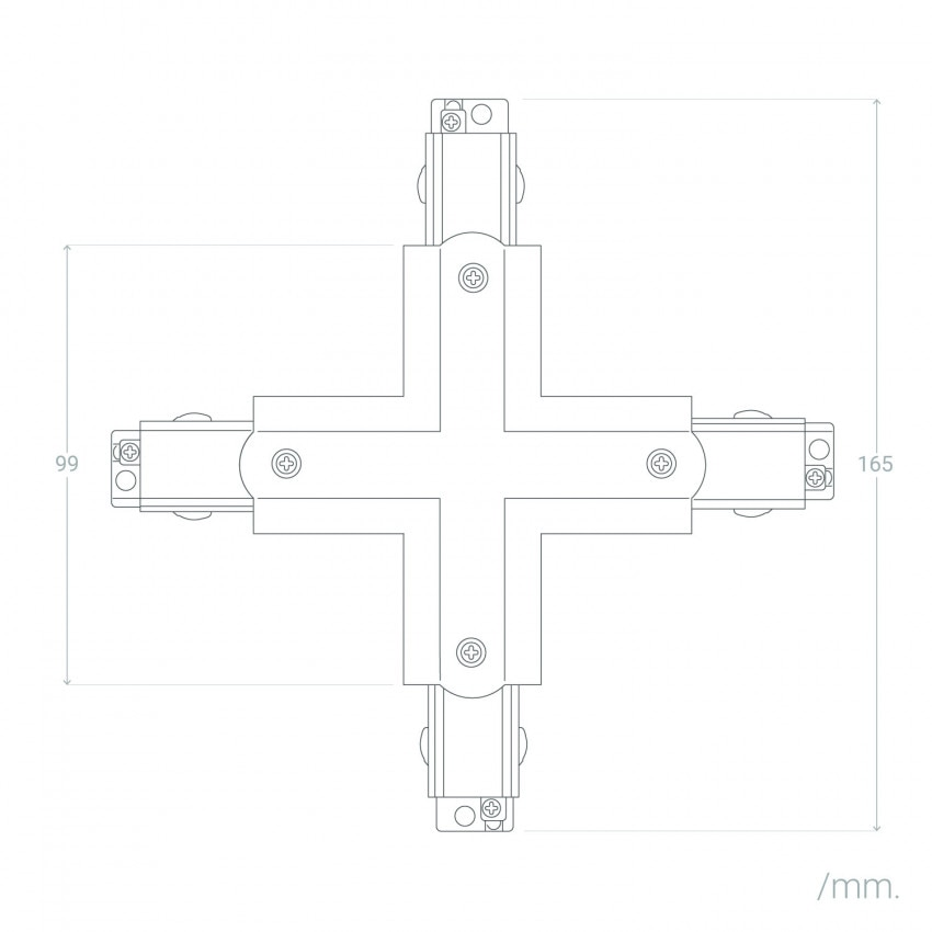 Conector Tipo X para Carril Trifásico