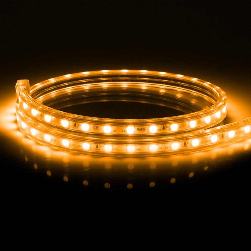 Fita LED 220V AC 100 LED/m Laranja IP67 à Medida Corte a cada 25 cm