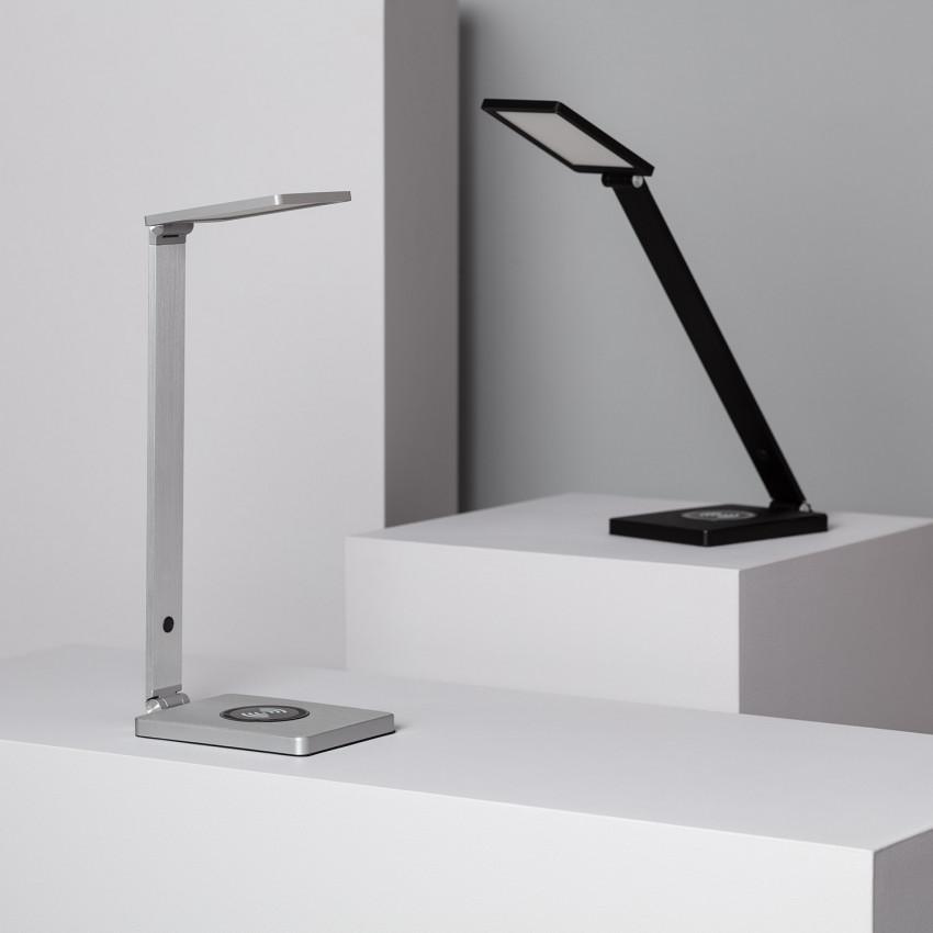 Lámpara de Escritorio LED Liberty 8W Regulable con Cargador Inalámbrico Qi Smartphone