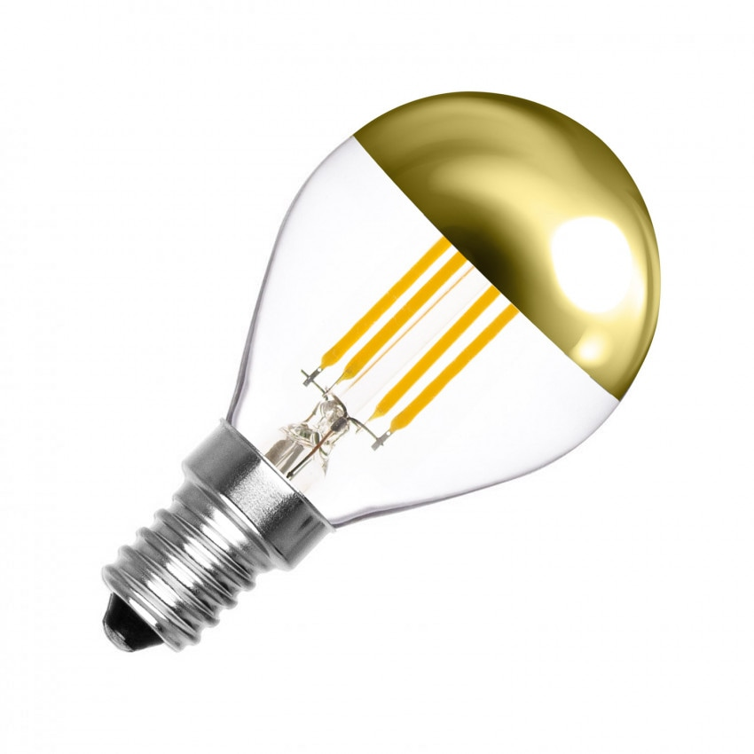 Lâmpada LED E14 Regulável Filamento Gold Reflect G45 3.5W