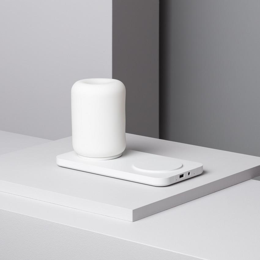 Carregador Inalâmbrico Qi Duplo para iPhone / Samsung / LG / Huawei con Candeeiro LED incluído