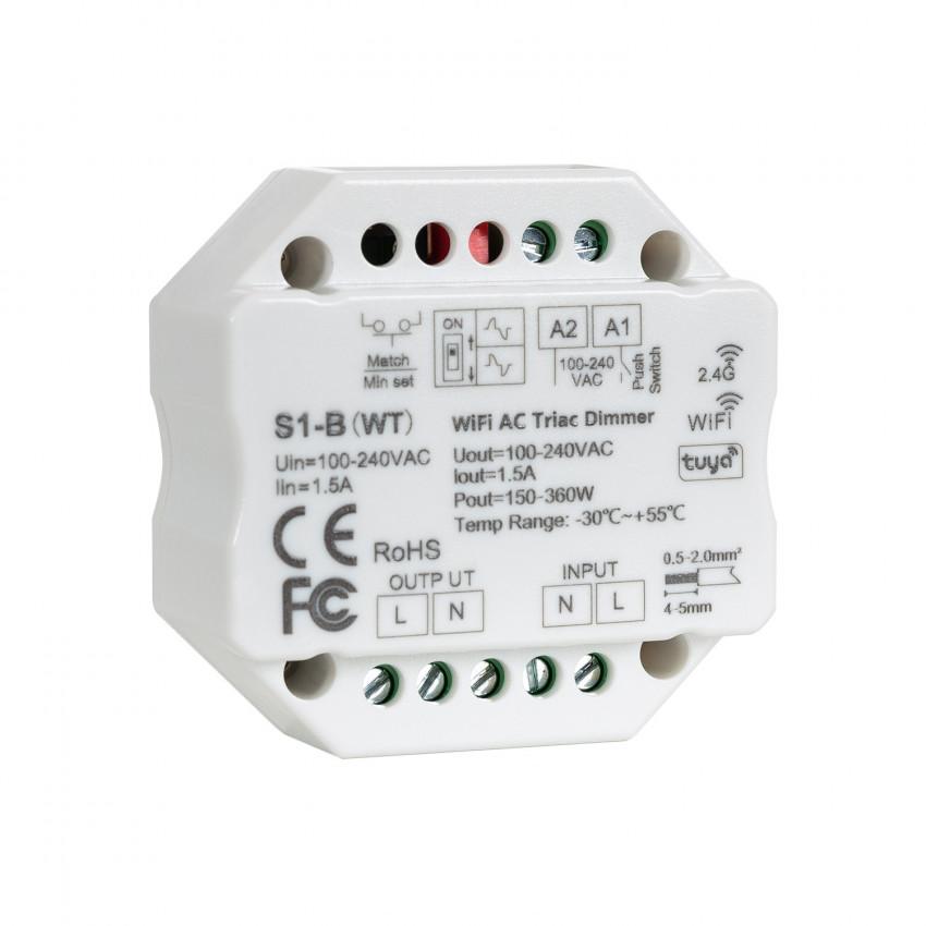 Regulador LED WiFi Triac RF 1CH 1.5A AC Compatível com Pulsador