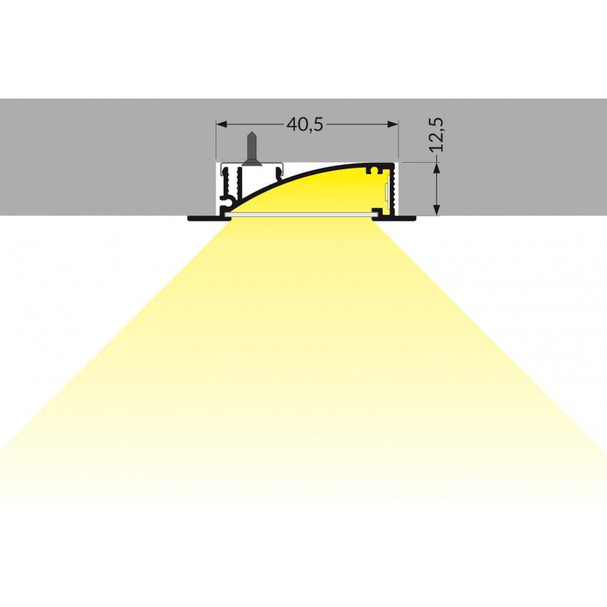 Perfil de Aluminio Empotrable 1m con Luz Difusa para Tiras LED hasta 10 mm