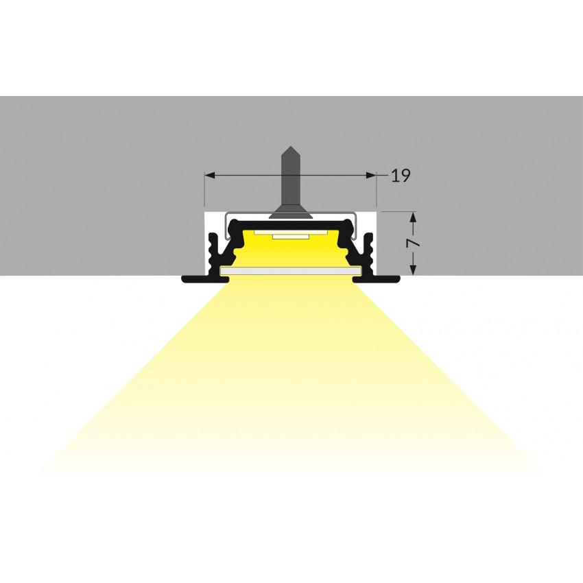 Perfil de Alumínio Encastrável de 1m Cobertura Deslizante para Fitas LED Até 10 mm