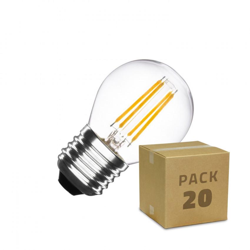 Caixa de 20 Lâmpadas LED E27 Regulável Filamento Small Classic G45 4W Neutro Branco
