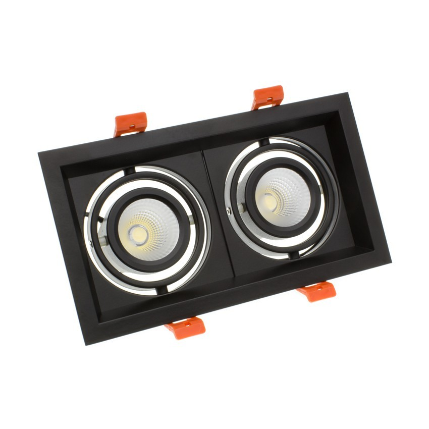 Foco Downlight LED CREE-COB Direccionable Madison Negro 2x10W LIFUD (UGR 19) Corte 200x110 mm