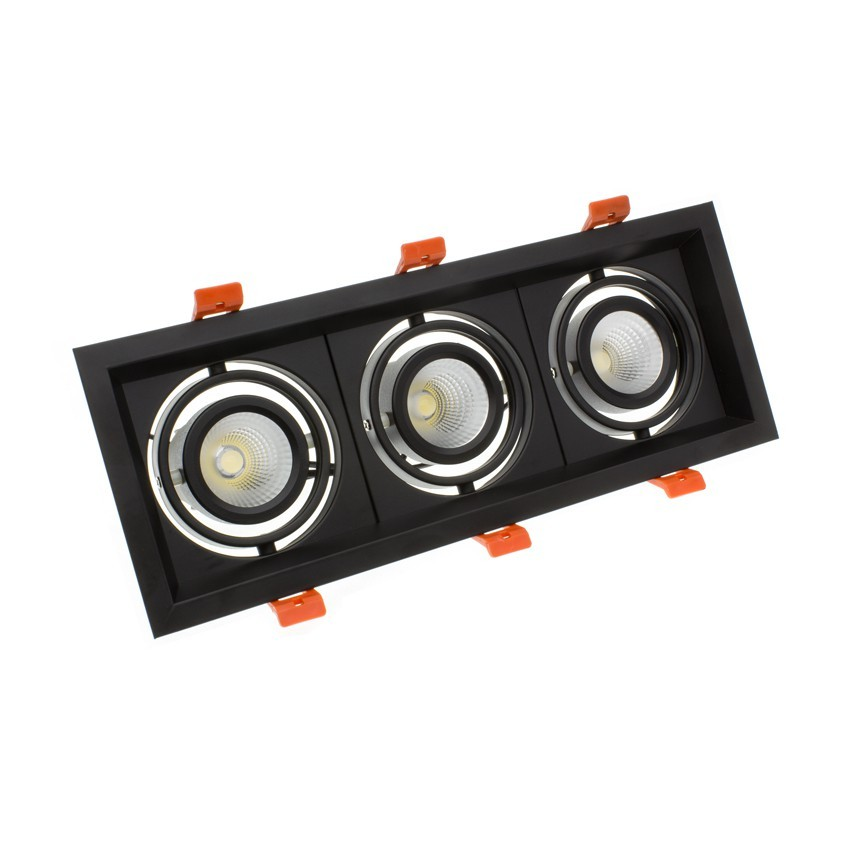 Foco Downlight LED 3x10W CREE-COB Direccionable Madison Negro LIFUD (UGR 19) Corte 295x110 mm