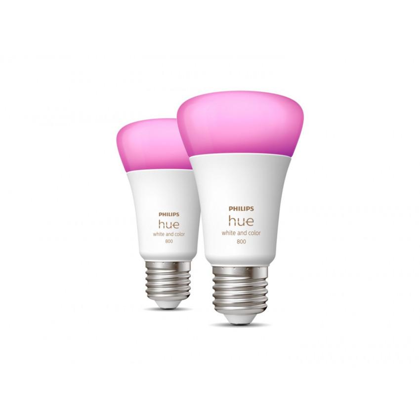 Pack 2 Bombillas LED E27 White Color 6.5W PHILIPS Hue
