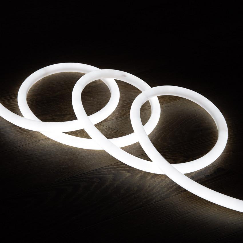 Fita Neon LED Regulável 220V AC 120 LED/m Circular 360 Branco Frio IP67 à Medida Corte a cada 100 cm