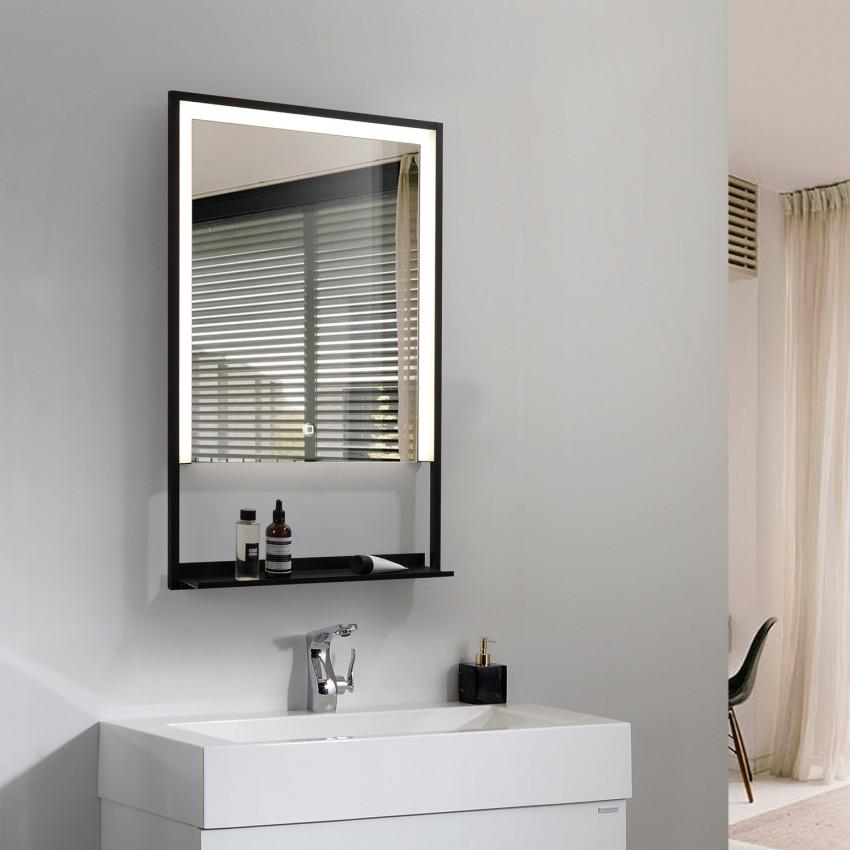 Espelho Decorativo LED Anti-embaçante  Táctil Madeira 45W