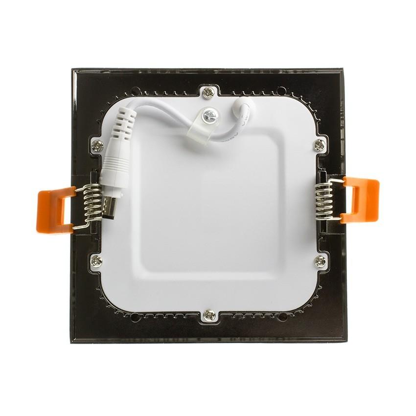 Placa LED Quadrada SuperSlim 6W Moldura Preta