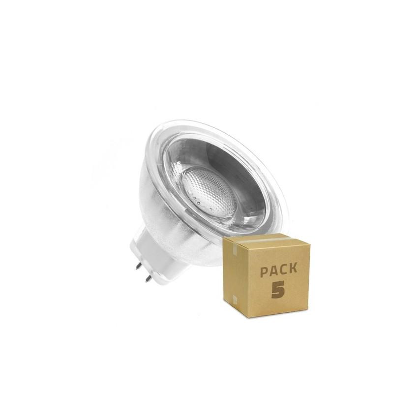 Pack 5 Lámparas LED GU5.3 MR16 COB Cristal 12V 5W