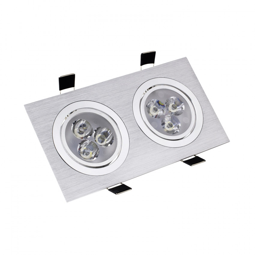 Foco LED Downlight Retangular 2x3x1W Corte Ø 64 mm (x2)
